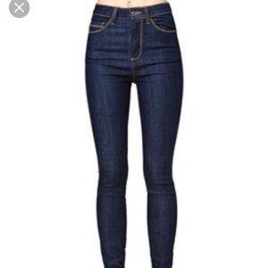 Nasty Gal High waist dark wash skinny jeans